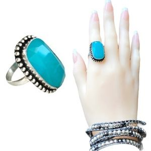 Blue Chalcedony Silver Ring Size 8.5 NEW